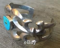 Signed Vintage Navajo Turquoise & Sterling Silver Sandcast Cuff Bracelet