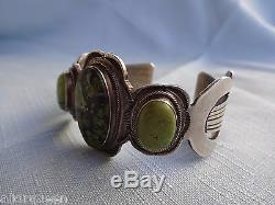 Signed Vintage Navajo WALLACE YAZZIE Jr, Green Turquoise Cuff BRACELET Sterling