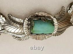Squash Blossom Navajo Sterling Silver And Turquoise Necklace Vintage. Signed