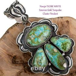 Squash Blossom Necklace Pendant SONORAN GOLD Turquoise Navajo Old Vintage Style