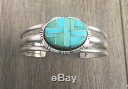 Stamped Vintage Navajo Turquoise & Sterling Silver Channel Inlay Cuff Bracelet