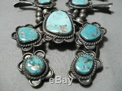Statement Vintage Navajo Turquoise Sterling Silver Squash Blossom Necklace