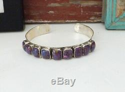 Sterling Silver Purple Mohave Turquoise Vintage Southwest Navajo Cuff Bracelet