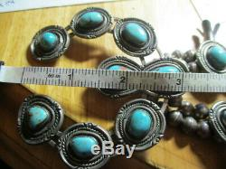 Sterling Silver Vintage Old Pawn Navajo Squash Blossom Turquoise 28 In Necklace