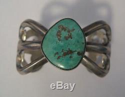 Sterling Vintage Pawn Navajo Turquoise Sand Cast Cuff Bracelet Beauty