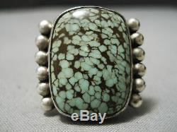 Striking Vintage Navajo Intense Green Spiderweb Turquoise Sterling Silver Ring