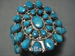 Striking Vintage Navajo Sterling Silver Turquoise Native American Bracelet Old