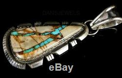 Stunning Dead Pawn Vintage Navajo Blue RIBBON TURQUOISE Sterling Silver Pendant