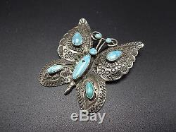 Stunning Vintage NAVAJO Hand-Stamped Sterling Silver & Turquoise BUTTERFLY PIN