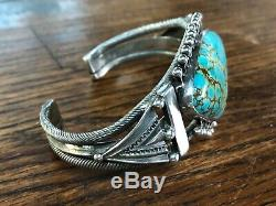 Stunning Vintage Navajo Turquoise Sterling Silver Bracelet Cuff Old