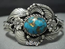 Stunning Vintage Navajo Turquoise Sterling Silver Cuff Bracelet