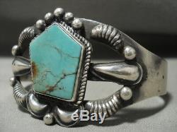 Superb Unique Vintage Navajo Kirk Smith (d.) Turquoise Silver Bracelet