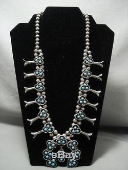 The Best Vintage Navajo'snake Eye Turquoise' Squash Blossom Silver Necklace