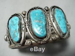 Thick Heavy Vintage Navajo Old Morenci Turquoise Sterling Silver Bracelet