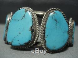 Tremendous Vintage Navajo Blue Diamond Turquoise Sterling Silver Bracelet