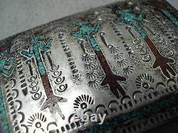 Tremendous Vintage Navajo Turquoise Coral Singer Inlay Sterling Silver Buckle