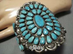Tremendous Vintage Navajo Zuni Natural Tear Turquoise Sterling Silver Bracelet