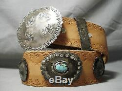 Unforgettable Vintage Navajo Turquoise Sterling Silver Concho Belt Old