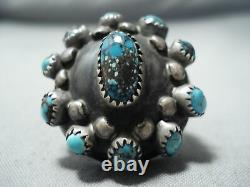 Unique Vintage Navajo Bisbee Turquoise Sterling Silver Ring