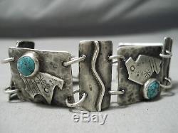 Unique Vintage Navajo Spiderweb Turquoise Sterling Silver Bracelet