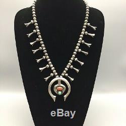 Unique! Vintage Turquoise, Coral & Sterling Silver Squash Blossom Necklace