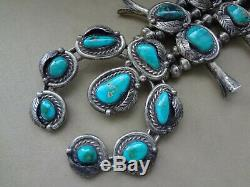 VINTAGE NATIVE AMERICAN TURQUOISE SQUASH BLOSSOM NECKLACE With NAJA 172 GRAMS