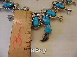 VINTAGE Navajo Turquoise Sterling Silver Squash Blossom Necklace