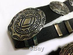 VTG 1970's Navajo Indian Concho Belt Hand Stamped. 925 Sterling Silver