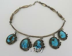 VTG Native American Navajo sterling silver turquoise dangle choker necklace