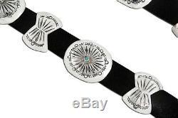 VTG Navajo Indian Handmade. 925 Silver Blue Turquoise Concho Belt