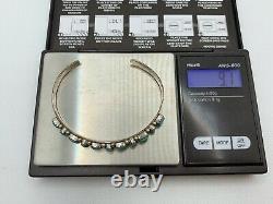 VTG Navajo NATIVE AMERICAN Sterling Silver Turquoise Cuff Bracelet 9.1g #yce