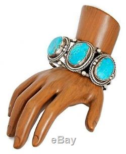 VTG Navajo Old Pawn Large Natural Kingman Turquoise. 925 Silver Handmade Cuff