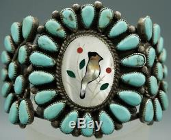 VTG Navajo Sterling Silver Petit Point Turquoise Inlaid MOP Bird Cuff Bracelet