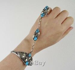 VTG Navajo sterling silver kingman turquoise slave cuff bracelet ring