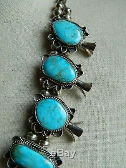 VTG Signed RN Ray Nez Navajo Sterling Silver Turquoise Squash Blossom Necklace