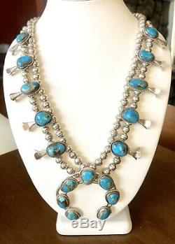 VTG Sterling Silver Turquoise Navajo Squash Blossom Bench Bead 26 Necklace