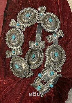Very Large Navajo Sterling/ Gem Turquoise Concho Belt. Vintage/Antique. 934 gm
