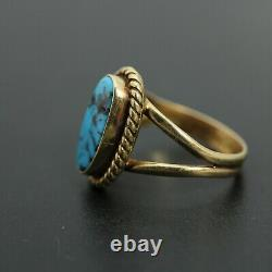 Vintage 14k Yellow Gold turquoise Ring by Edward Becenti EB size 5.5