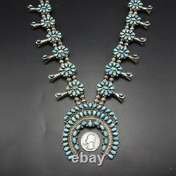 Vintage 1950s ZUNI Sterling Silver & Turquoise Cluster SQUASH BLOSSOM Necklace