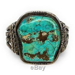 Vintage 1960's Native American 4 Shank Sterling Silver & Turquoise Cuff Bracelet
