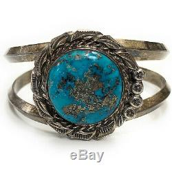 Vintage 1960's Navajo Dual Shank Sterling Silver & Turquoise Cuff Bracelet