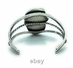 Vintage 1960's Navajo Sterling Silver Royston Turquoise Tri-Shank Cuff Bracelet