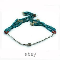 Vintage 1960s Navajo Turquoise Shell Heishi & Red Coral Jacla 3-Strand Necklace