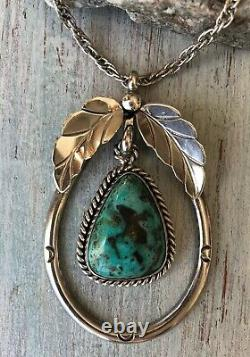 Vintage 60s 70s Navajo Sterling Silver Royston Turquoise Stone Pendant Necklace