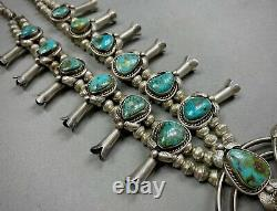 Vintage 70s Navajo Sterling Silver Royston Turquoise Squash Blossom Necklace