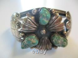Vintage Antique Signed Chunky Turquoise Navajo Native American Cuff Bracelet