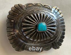 Vintage Bennie Kee Scott Navajo Sterling Turquoise Belt Buckle Coin Conchos