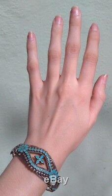 Vintage Dishta Zuni Indian Silver Multi Turquoise Flush Inlay Cuff Bracelet