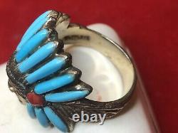 Vintage Estate Sterling Silver Native American Headdress Coral Turquoise Signed