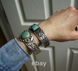 Vintage Fred Harvey Era Native American Sterling Silver Turquoise Cuff Bracelet
